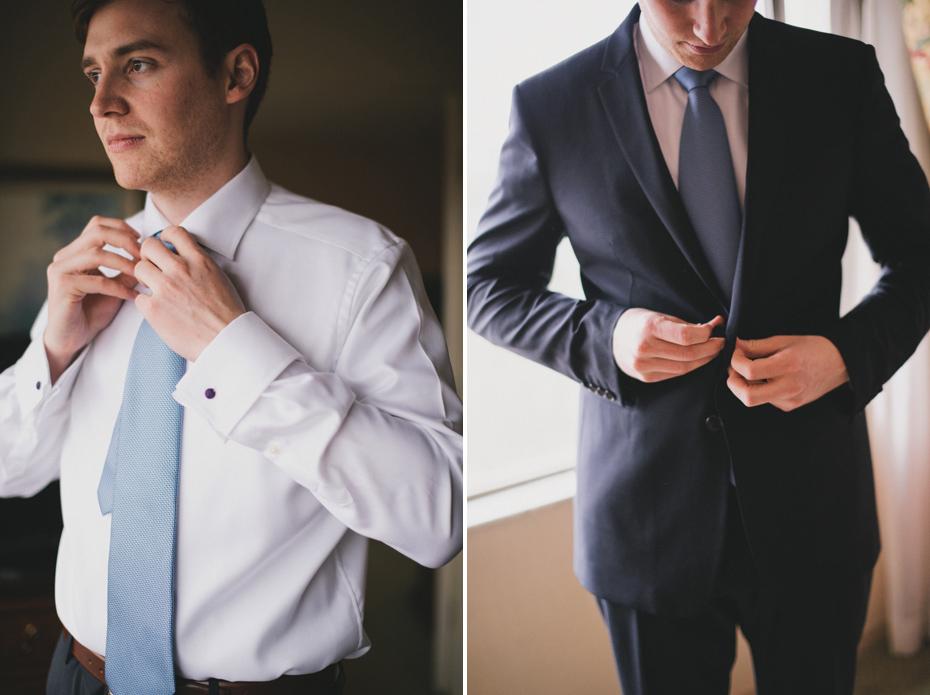 A groom gets dressed at the Campus Inn in Ann Arbor, shot by wedding photographer Heather Jowett