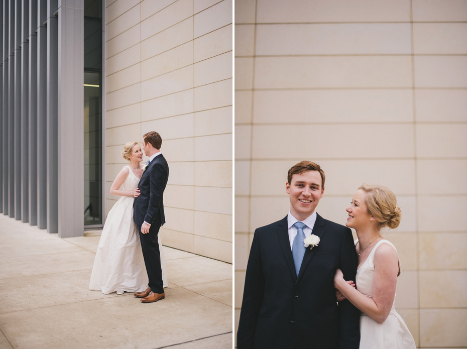 A bride and groom share a first look at the UMMA in Ann Arbor, shot by wedding photographer Heather Jowett