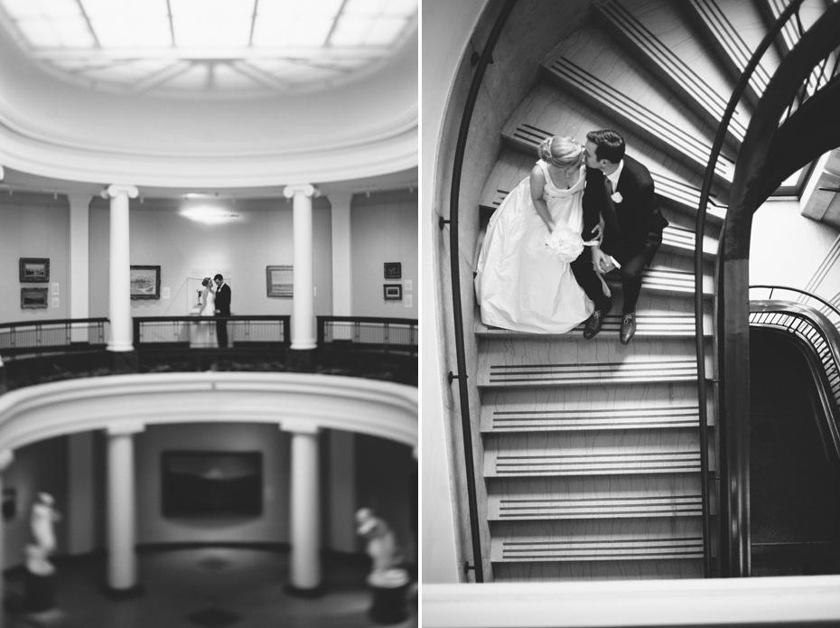 A bride and groom portrait at UMMA in Ann Arbor, shot by wedding photographer Heather Jowett