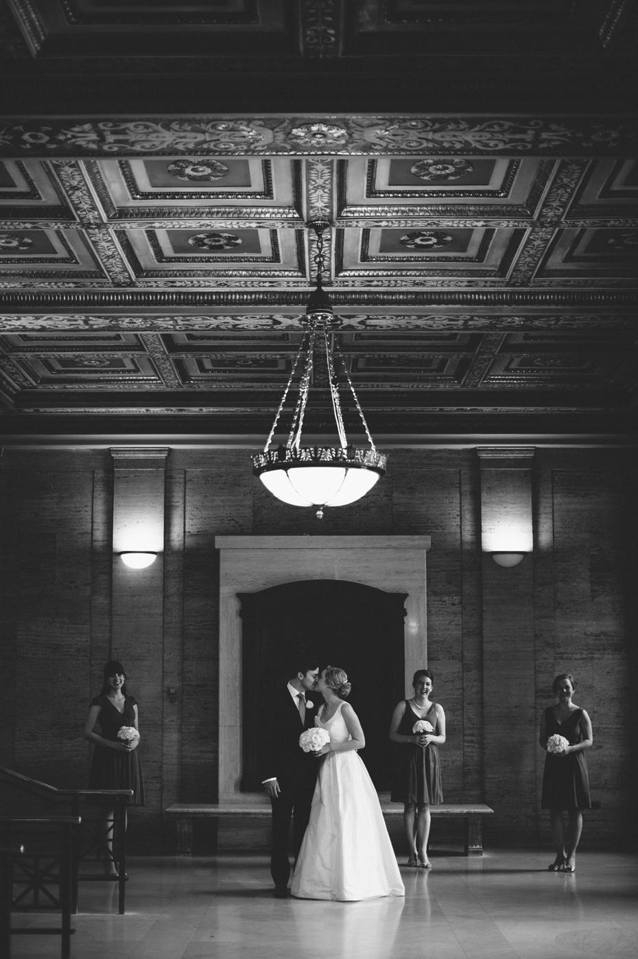A bridal party portrait at Angell Hall in Ann Arbor, shot by wedding photographer Heather Jowett