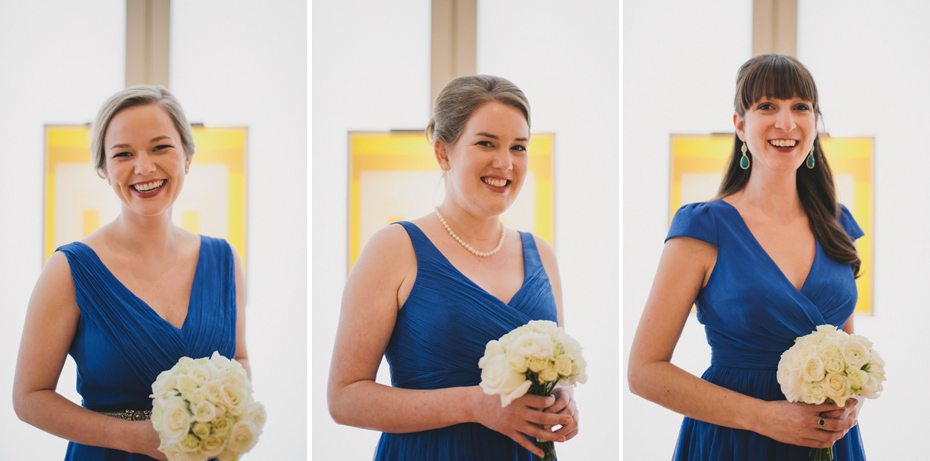 Photos of Bridesmaids at UMMA in Ann Arbor, shot by wedding photographer Heather Jowett