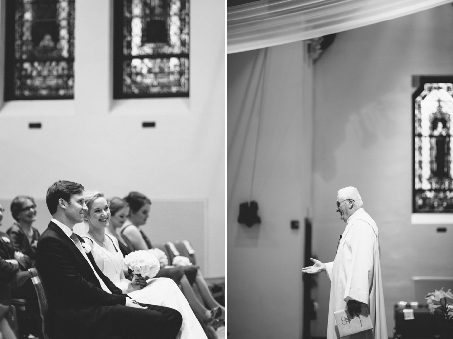 A bride and groom during their wedding at Saint Mary's Student Parish in Ann Arbor, shot by wedding photographer Heather Jowett