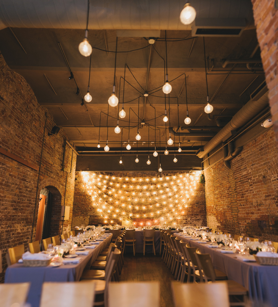 A shot of the room ready for a reception at Zingerman's Events on Fourth, in Ann Arbor, by Wedding Photographer Heather Jowett