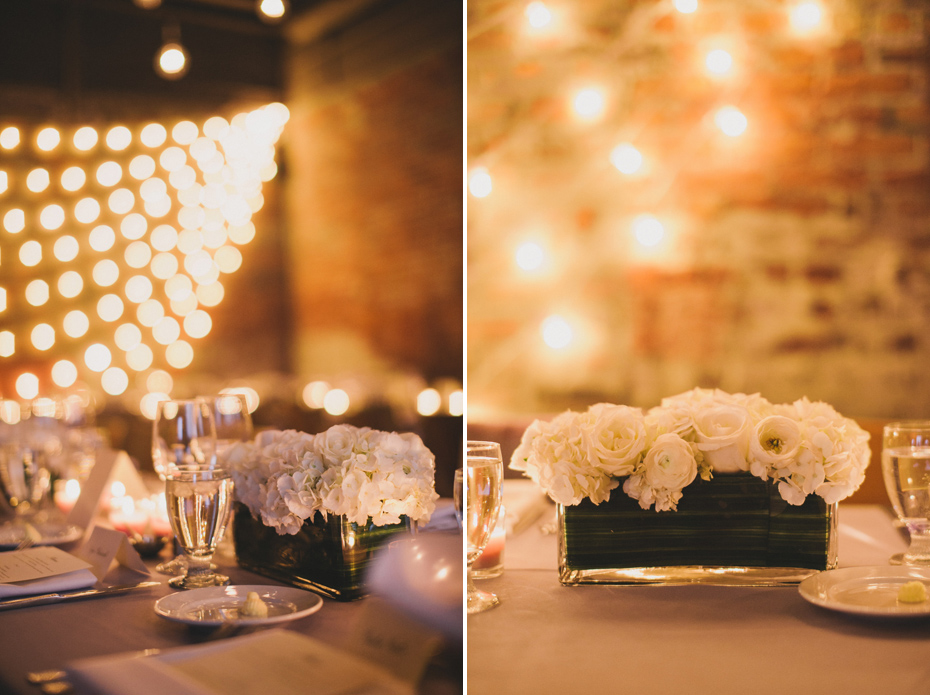 White flowers during reception at Zingerman's Events on Fourth, in Ann Arbor, by Wedding Photographer Heather Jowett
