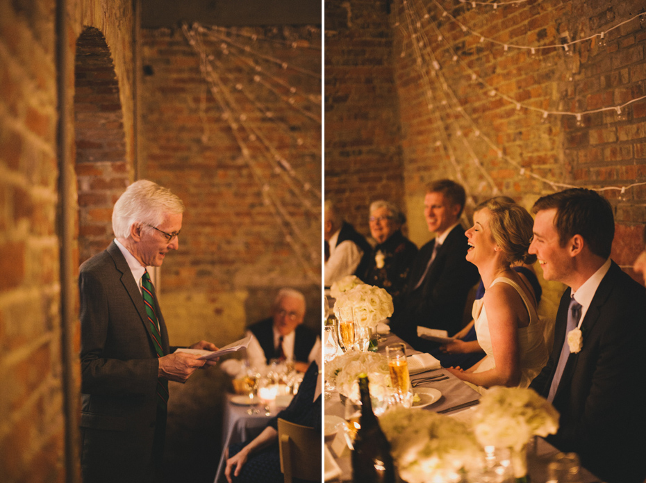 The father of the bride shares a toast during a reception at Zingerman's Events on Fourth, in Ann Arbor, by Wedding Photographer Heather Jowett