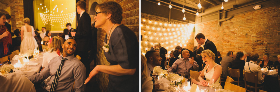 Wedding guests mingle during a wedding reception at Zingerman's Events on Fourth, in Ann Arbor, by Wedding Photographer Heather Jowett