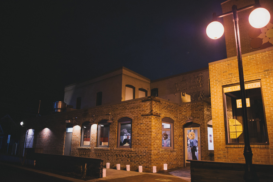 A night shot of the venue during a wedding reception at Zingerman's Events on Fourth, in Ann Arbor, by Wedding Photographer Heather Jowett