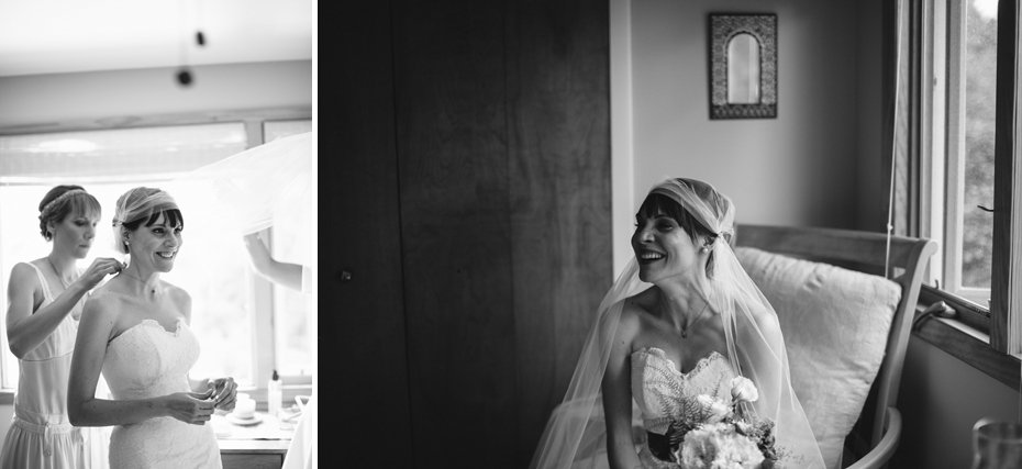 A bride smiles moments before her wedding ceremony in this photograph by Ann Arbor Michigan wedding photographer, Heather Jowett.