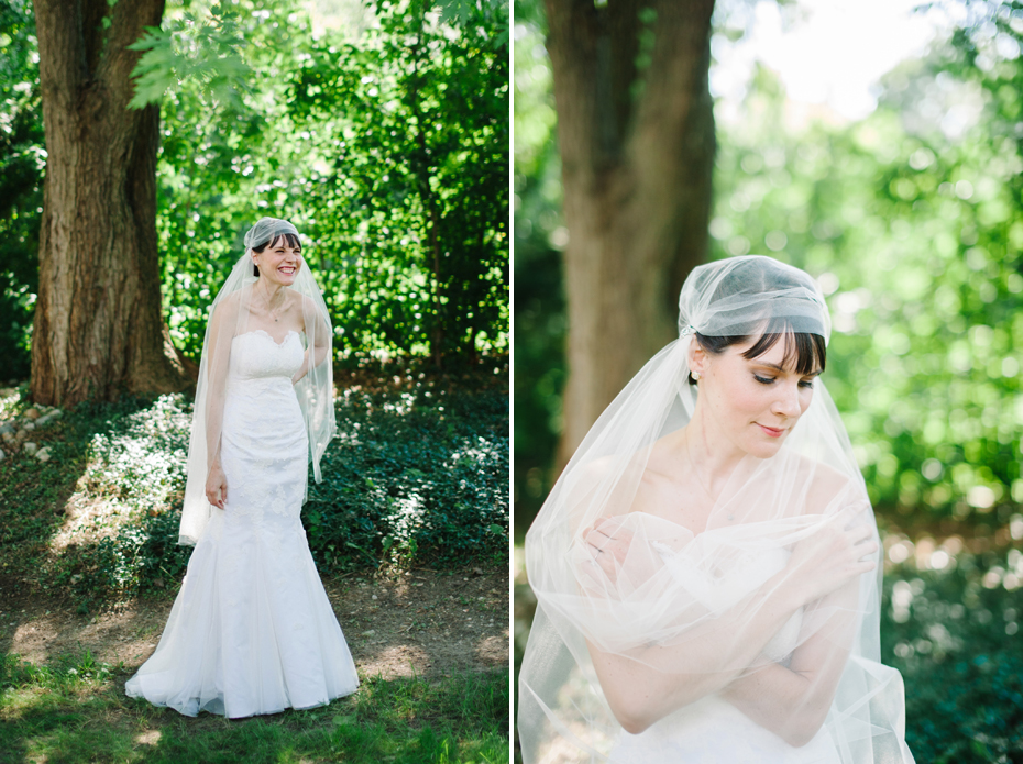 Bridal portraits with a bride wearing a vintage styled veil by Ann Arbor Michigan wedding photographer, Heather Jowett.