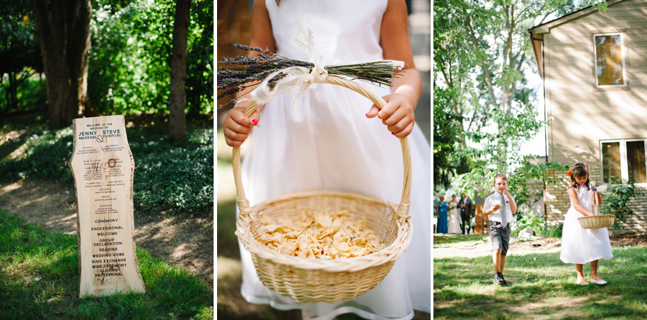 A backyard wedding ceremony begins by Ann Arbor Michigan wedding photographer, Heather Jowett.