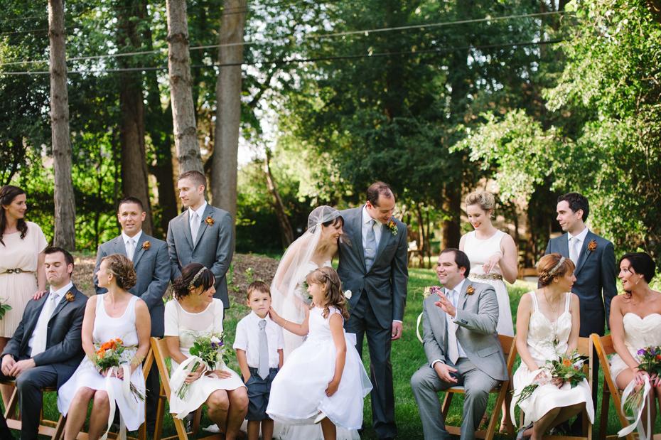 A portrait of the entire wedding party by Detroit Michigan wedding photographer, Heather Jowett.
