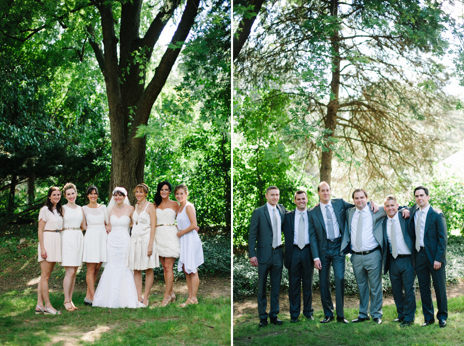 Bridesmaids in mismatched cream dresses and groomsmen in grey suits by Detroit Michigan wedding photographer, Heather Jowett.