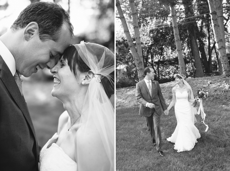 Bride and groom share a quiet moment together after their backyard wedding ceremony by Detroit Michigan wedding photographer, Heather Jowett.