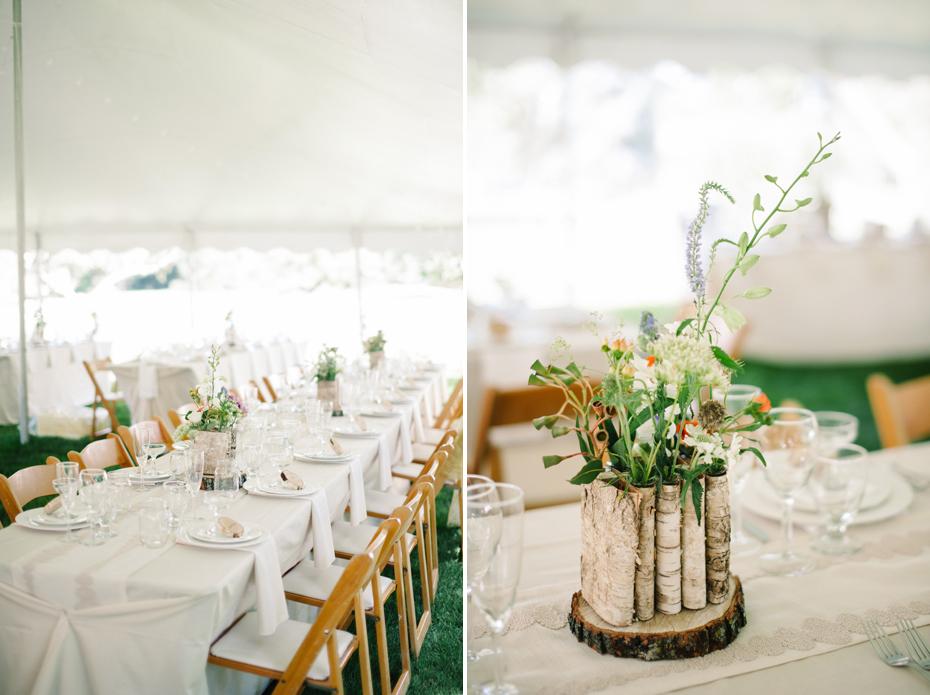 DIY flowers and detailed at a backyard wedding reception by Ann Arbor Michigan wedding photographer, Heather Jowett.
