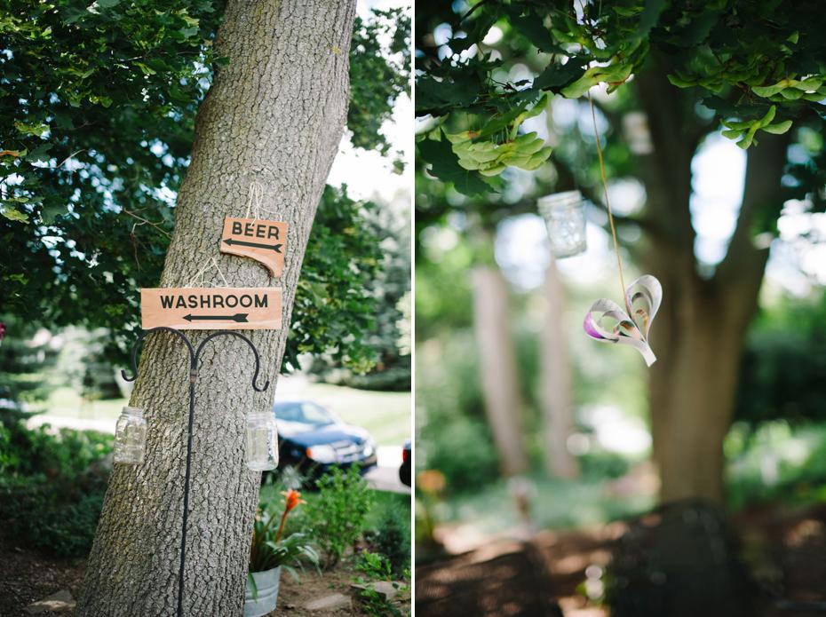 DIY signage at a backyard wedding reception by Ann Arbor Michigan wedding photographer, Heather Jowett.