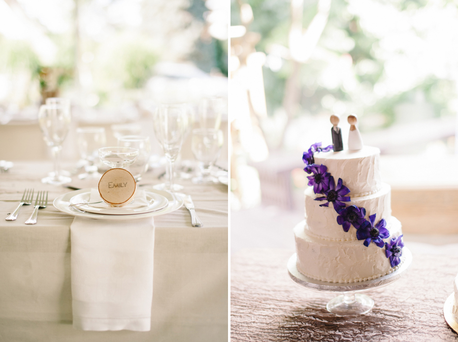 Some of the DIY details and the cake at a backyard wedding reception by Ann Arbor Michigan wedding photographer, Heather Jowett.