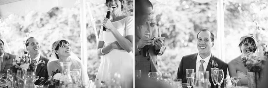 bride and groom react to Maid of honor and best man toasts at a backyard wedding reception by Ann Arbor Michigan wedding photographer, Heather Jowett.