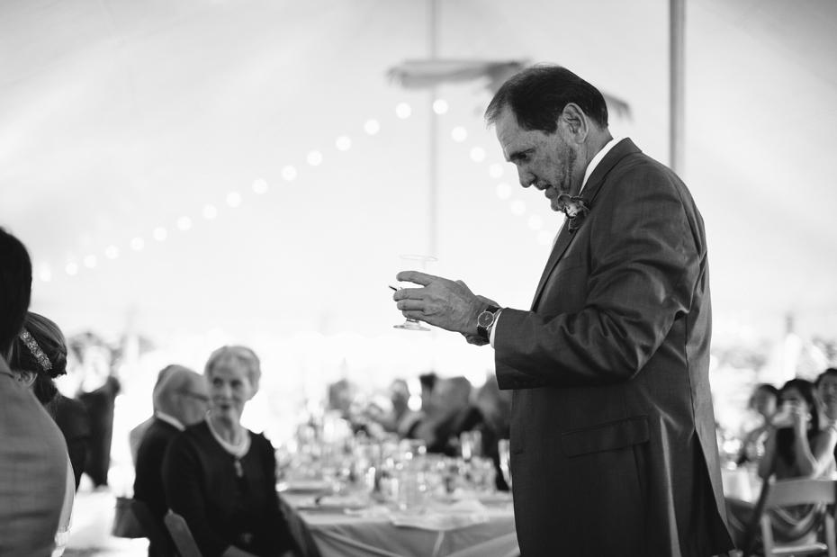 father of the bride's toast at a backyard wedding reception by Ann Arbor Michigan wedding photographer, Heather Jowett.