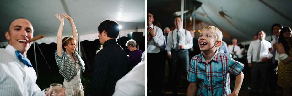 Guests dance in a tent under the stars at a Michigan wedding.