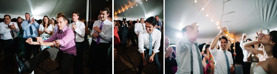 Guests dancing at a backyard wedding by Bloomfield Hills wedding photographer Heather Jowett.
