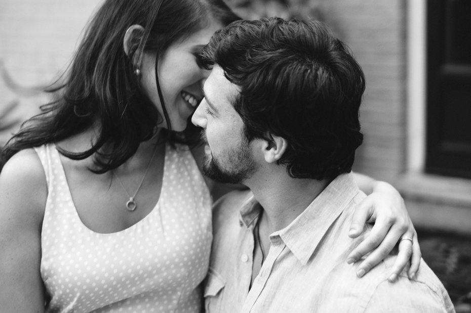 Black and white portrait of a couple during a Newport News Virginia engagement session by Ann Arbor Wedding Photographer Heather Jowett.