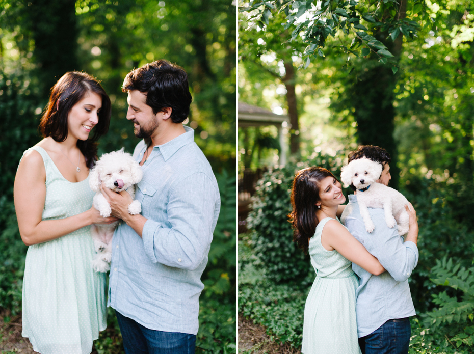 A couple poses with their dogs during a Newport News Virginia engagement session by Ann Arbor Wedding Photographer Heather Jowett.