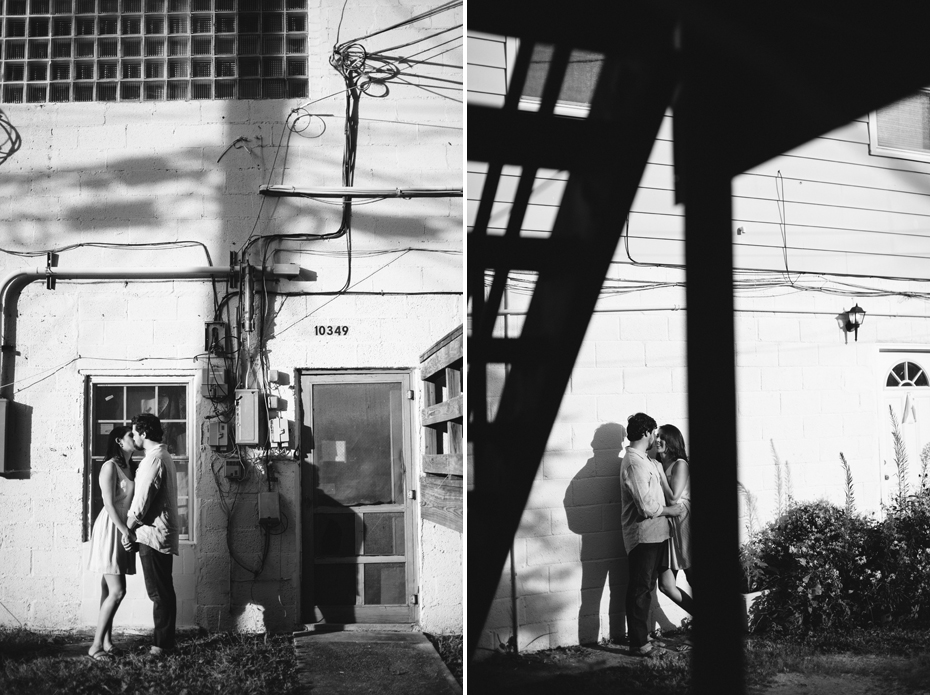 Black and white portrait of a couple in Hilton Village during a Newport News Virginia engagement session by Ann Arbor Wedding Photographer Heather Jowett.