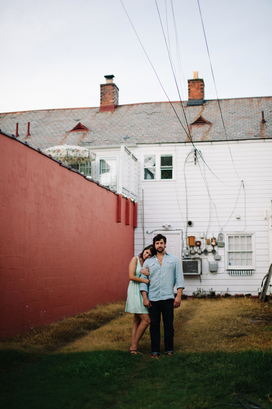Portrait of a couple in Hilton Village during a Newport News Virginia engagement session by Ann Arbor Wedding Photographer Heather Jowett.