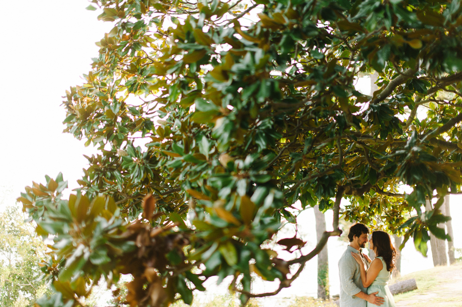 Portrait of a couple at Lion's Bridge during a Newport News Virginia engagement session by Ann Arbor Wedding Photographer Heather Jowett.