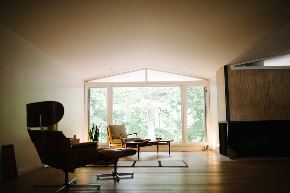 Interior of a mid-century home in metro Detroit during a lifestyle family portrait session in Ferndale photographed by Ann Arbor Wedding Photographer, Heather Jowett.