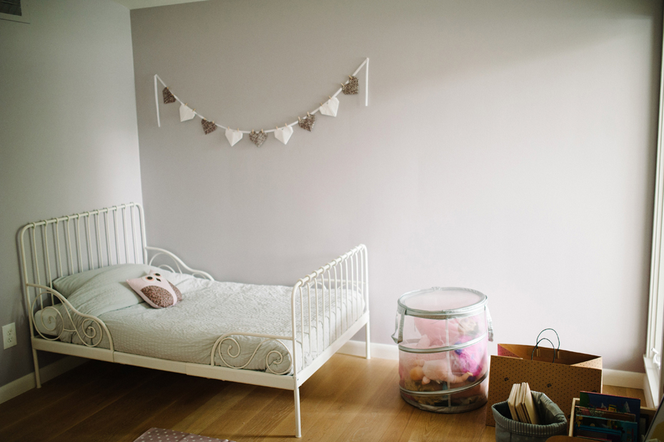 Interior of a child's bedroom in a mid-century home in metro Detroit during a lifestyle family portrait session in Ferndale photographed by Ann Arbor Wedding Photographer, Heather Jowett.