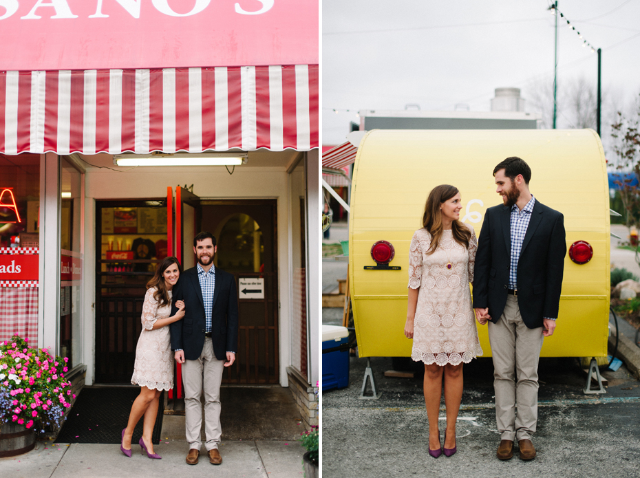 A couple poses for portraits in Downtown Traverse City before their rehearsal dinner at The Cooks House by Michigan Wedding Photographer Heather Jowett.