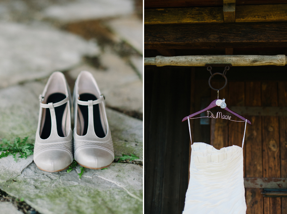 The bride's shoes and dress with custom hanger.