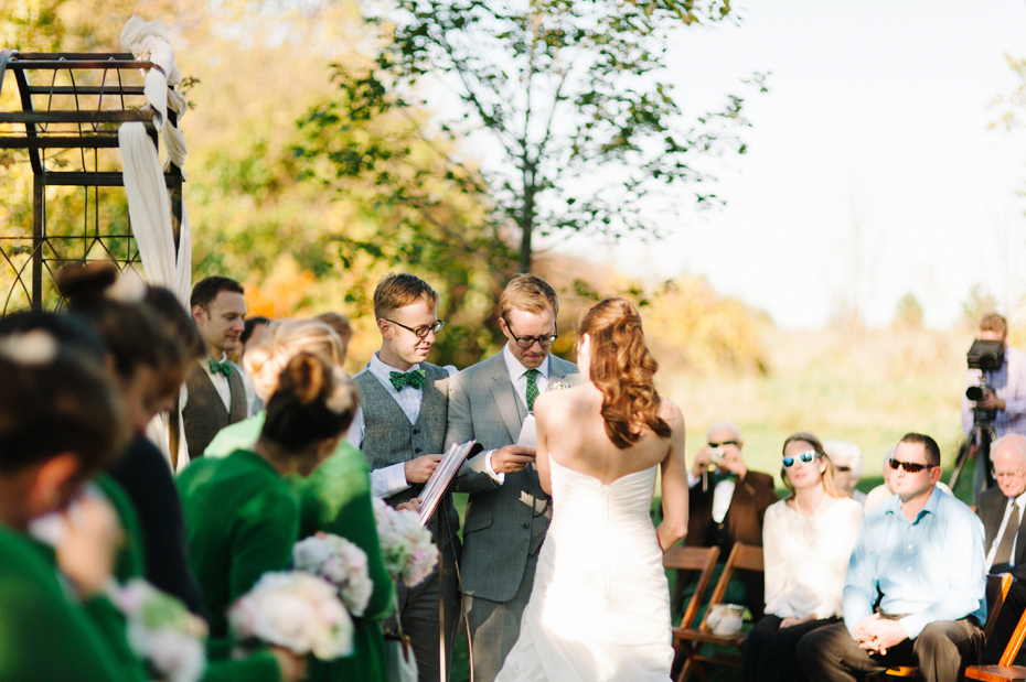 An emotional wedding ceremony at Misty Farms in Ann Arbor MI.