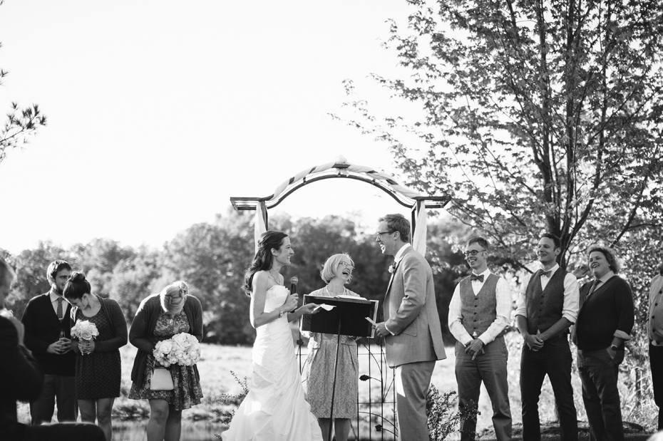 An emotional and laughter filled wedding ceremony at Misty Farms in Ann Arbor MI.