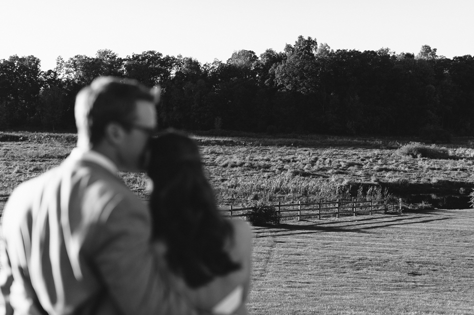 Bride and groom share a quite moment at Misty Farms in Ann Arbor MI.