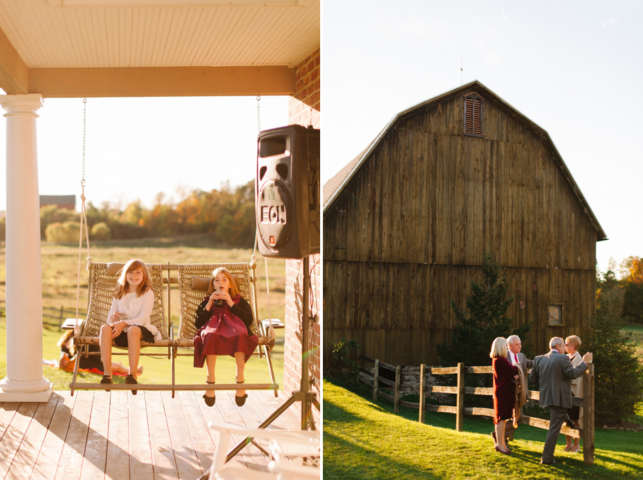 Guests enjoying cocktail hour at Misty Farms by photojournalistic Michigan wedding photographer Heather Jowett.