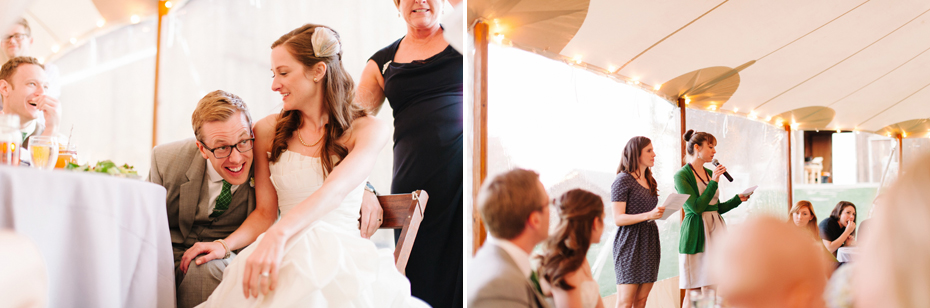 Laughter filled toasts during a wedding reception at Misty Farms by photojournalistic Michigan wedding photographer Heather Jowett.