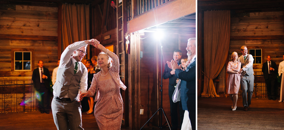 Parent dances in the barn at a wedding reception at Misty Farms by photojournalistic Michigan wedding photographer Heather Jowett.