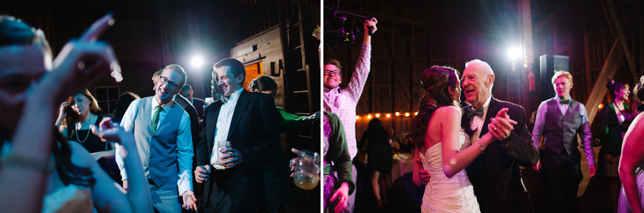 Wedding guests dancing the night away in the barn at Misty Farms.