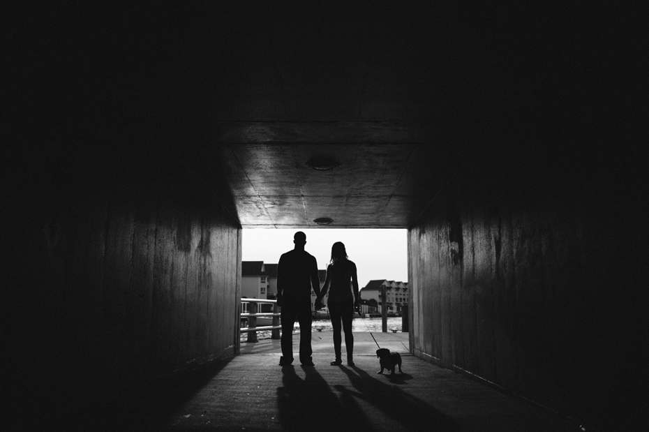 A silhouette of a couple with their dog during their engagement session by Detroit Michigan wedding photographer Heather Jowett.