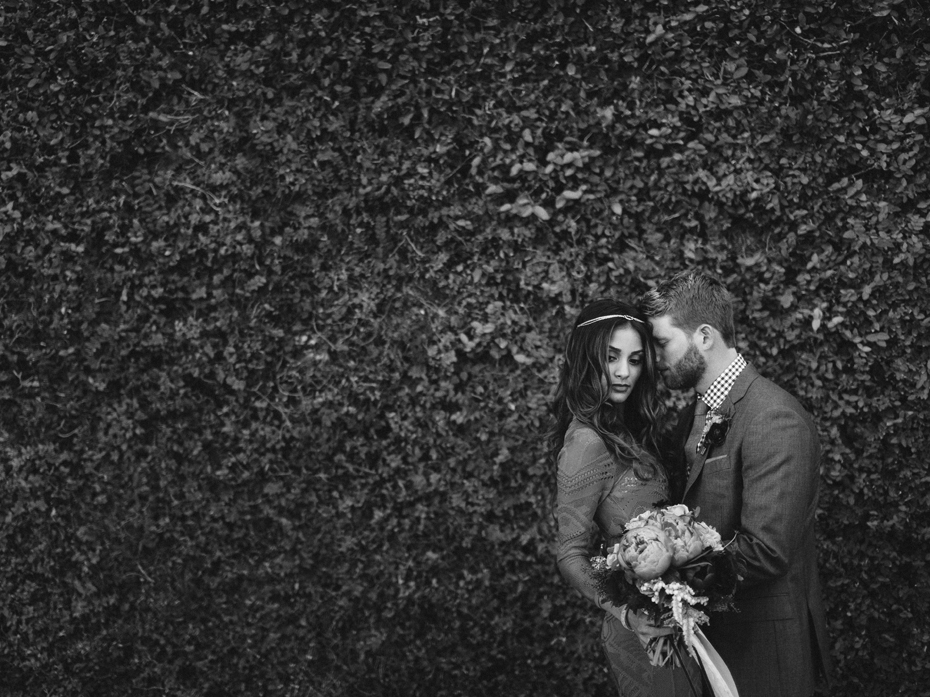 Black and white wedding portrait at the Sundy house in southern florida by wedding photographer Heather Jowett.