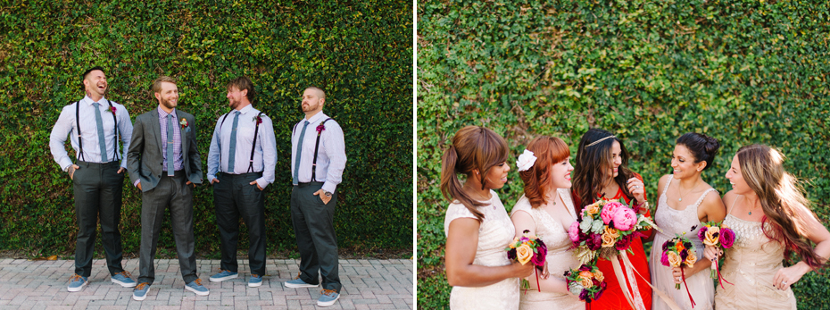 Bridesmaids and groomsmen at the Sundy house in southern florida by wedding photographer Heather Jowett.