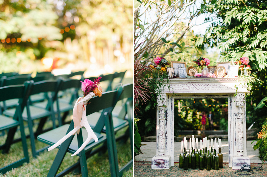 A mantel serves as the backdrop for a wedding ceremony with antlers lining the aisle at the Sundy house in southern florida by wedding photographer Heather Jowett.
