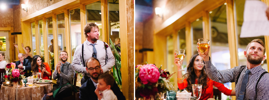 Best man toast at the Sundy House in Southern Florida by wedding photographer Heather Jowett.