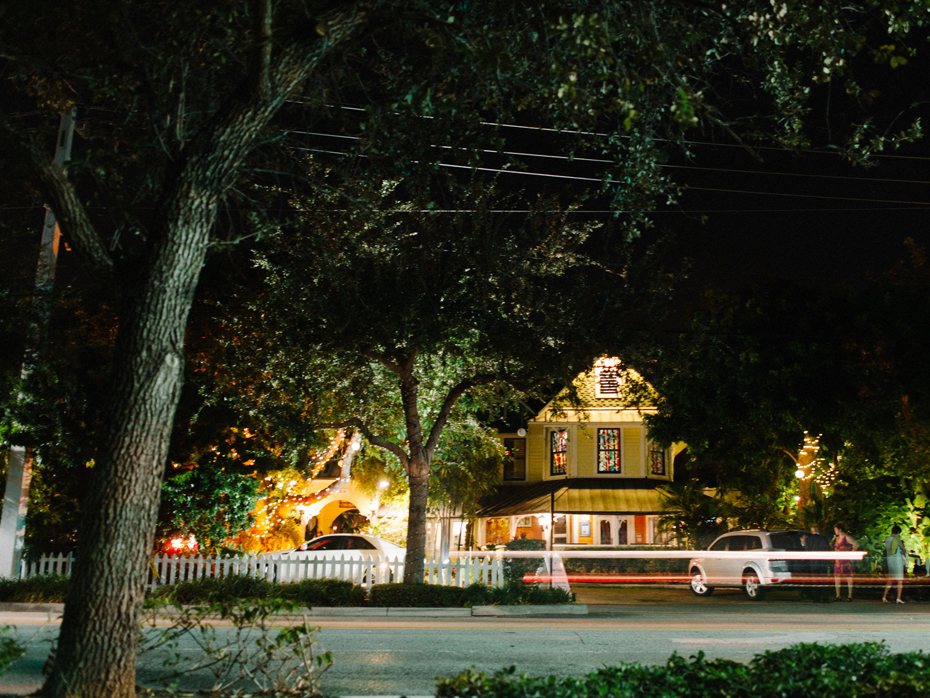 Exterior night shot of the Sundy house in Southern Florida.