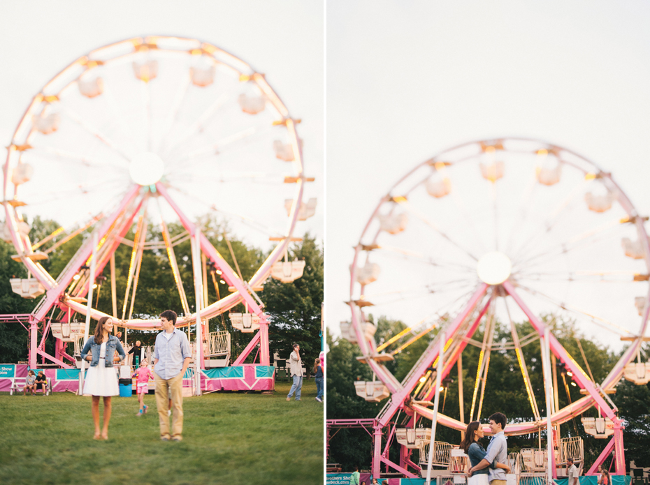 A couple with the ferris wheel at the Saint Clair County 4h fair by Michigan wedding photographer Heather Jowett.