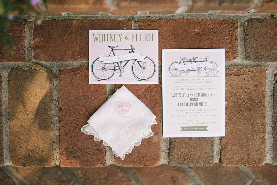Bicycle themed wedding invitation, for a wedding at Tapawingo in Northern Michigan, by Ann Arbor Wedding Photographer Heather Jowett.