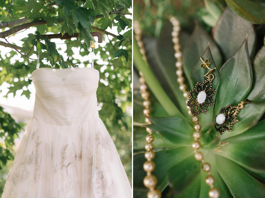 Blush pink wedding dress with vintage jewelry.