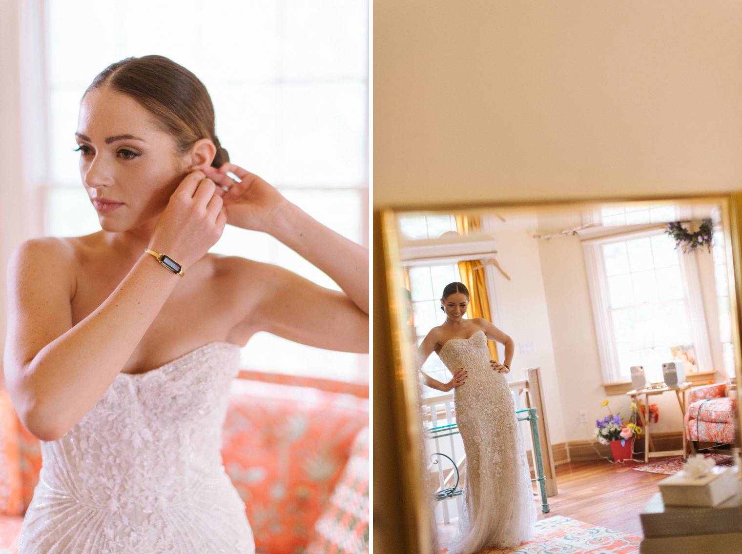 Finishing touches on a Detroit Bride's Wedding day.